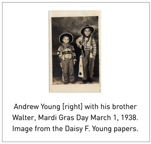 Andrew Young [right] with his brother Walter, Mardi Gras Day March 1, 1938. Image from the Daisy F. Young papers.
