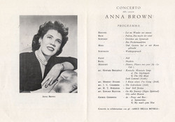 Program for Anne Wiggins Brown concert in Italy, 1946.