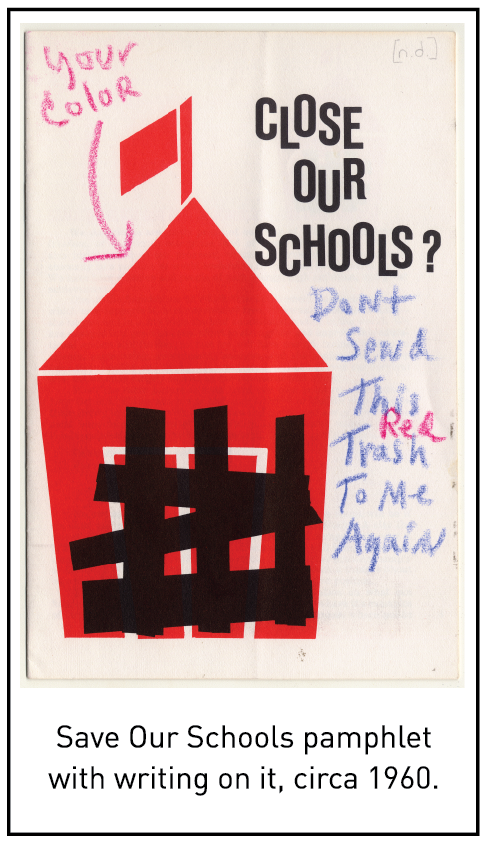 Save Our Schools pamphlet with writing on it, circa 1960.