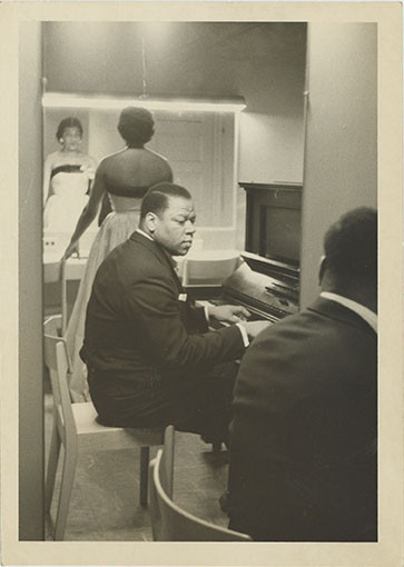 Photograph: William Warfield and Leontyne Price backstage, undated