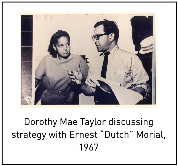 """Dorothy Mae Taylor discussing strategy with Ernest """"Dutch"""" Morial, 1967"""