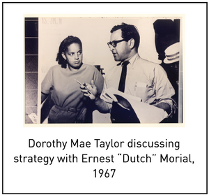 "Dorothy Mae Taylor discussing strategy with Ernest ""Dutch"" Morial, 1967"