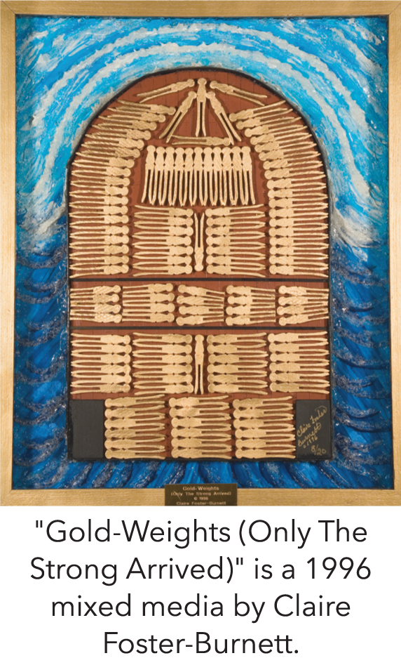 """Gold-Weights (Only The Strong Arrived)"" is a 1996 mixed media by Claire Foster-Burnett."