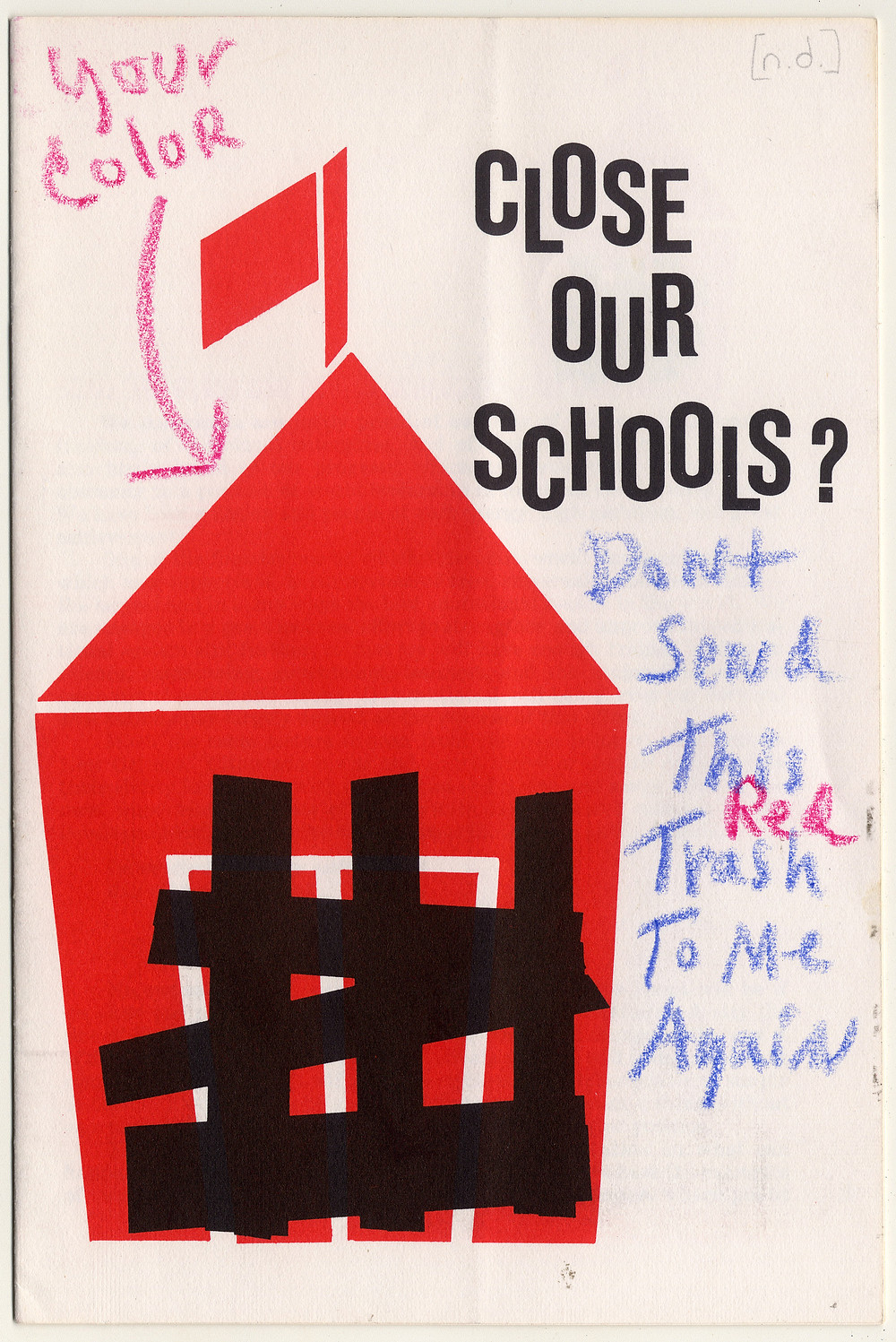Front cover of pamphlet produced by Save Our Schools with segregationist responses, 1960