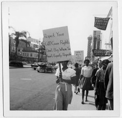Dorotha Smith taking part in CORE protests on Canal Street, 1961.