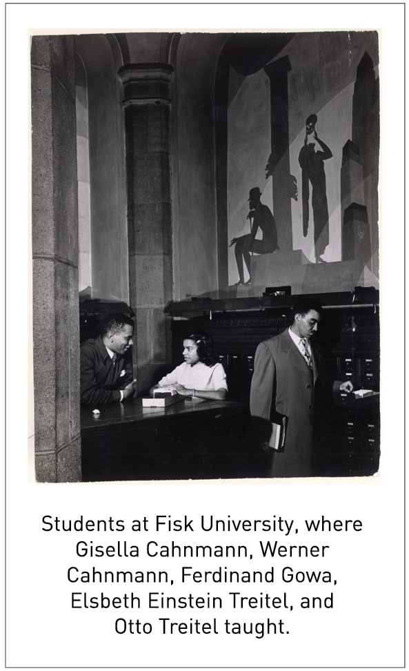 Students at Fisk University, where Gisella Cahnmann, Werner Cahnmann, Ferdinand Gowa, Elsbeth Einstein Treitel, and Otto Treitel taught.