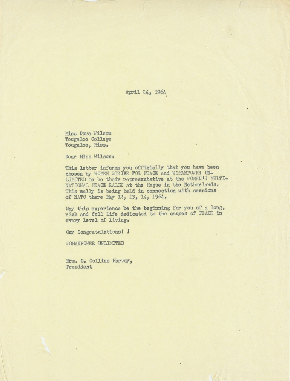 Letter from Clarie Collins Harvey to Dora Wilson, April 24, 1964