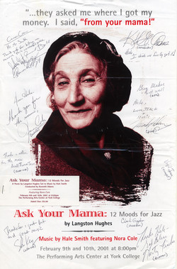 "Poster advertisement for performance of Langston Hughes' ""Ask Your Mama"" with music by Hale Smith"