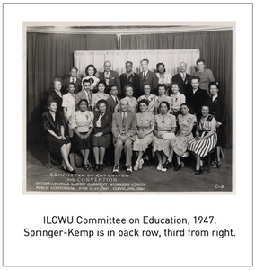 ILGWU Committee on Education, 1947. Springer-Kemp is in back row, third from right.