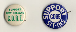 Pushback pins from the New Orleans branch of the Congress of Racial Equality (CORE).