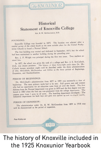 The history of Knoxville included in the 1925 Knoxunior Yearbook
