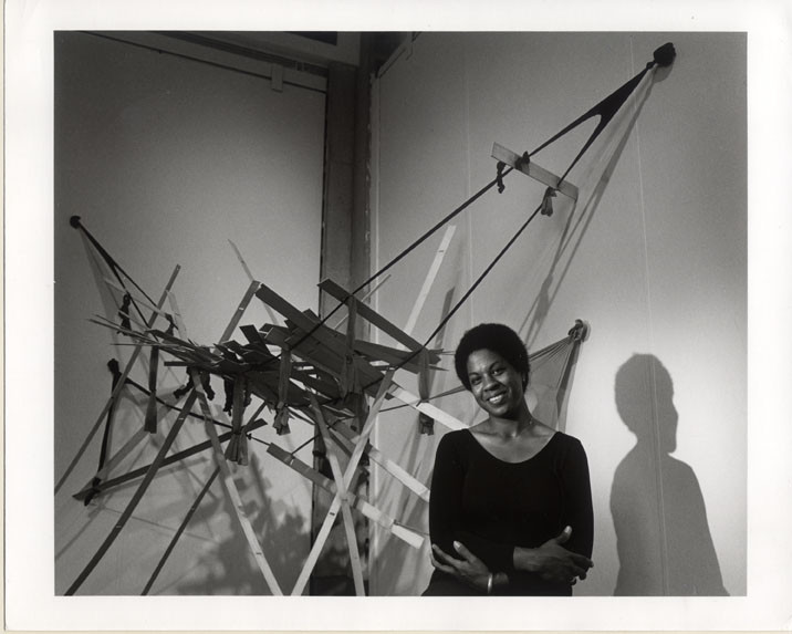 Artist Senga Nengudi with her artwork Nuki Nuki – Across 18th Street, 1981.