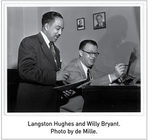 Langston Hughes and Willy Bryant. Photo by de Mille.