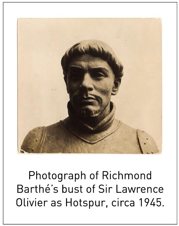 Photograph of Richmond Barthé's bust of Sir Lawrence Olivier as Hotspur, circa 1945.