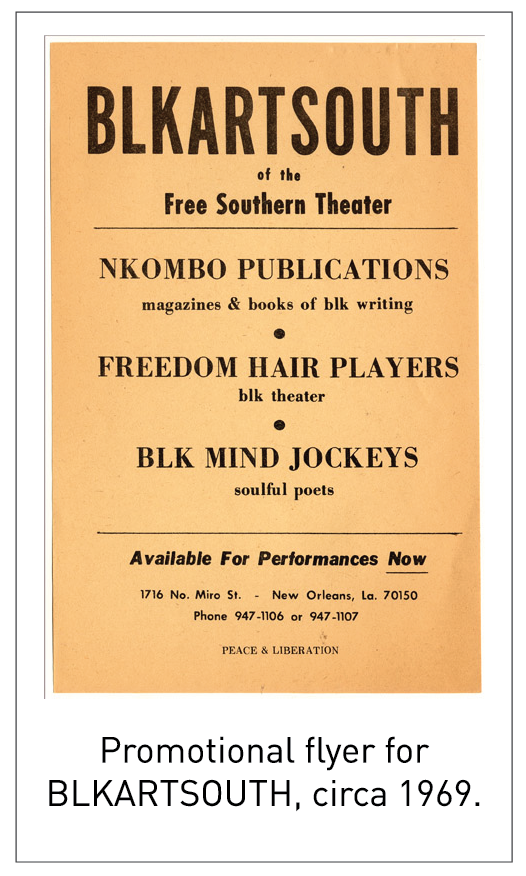 Promotional flyer for BLKARTSOUTH, circa 1969.