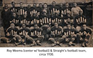 Roy Weems (center w/ football) & Straight's football team, circa 1930.