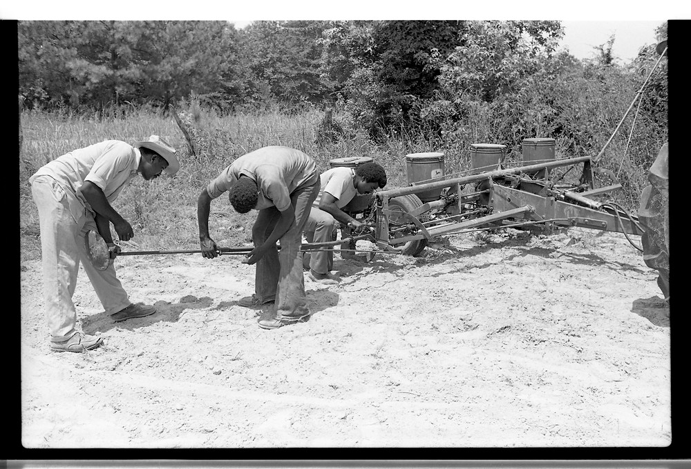 Preparing to plant soybeans at the FSC training center farm in Epes, Alabama, June 1974.  Photograph by Pat Goudvis. Used with permission.