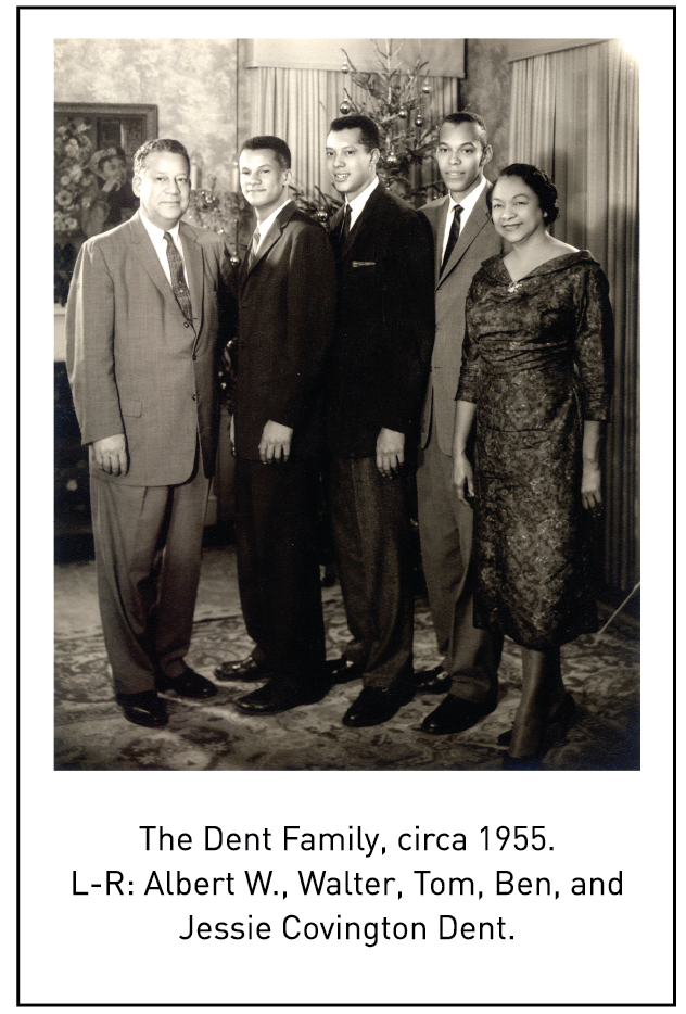 The Dent Family, circa 1955. L-R: Albert W., Walter, Tom, Ben, and Jessie Covington Dent.
