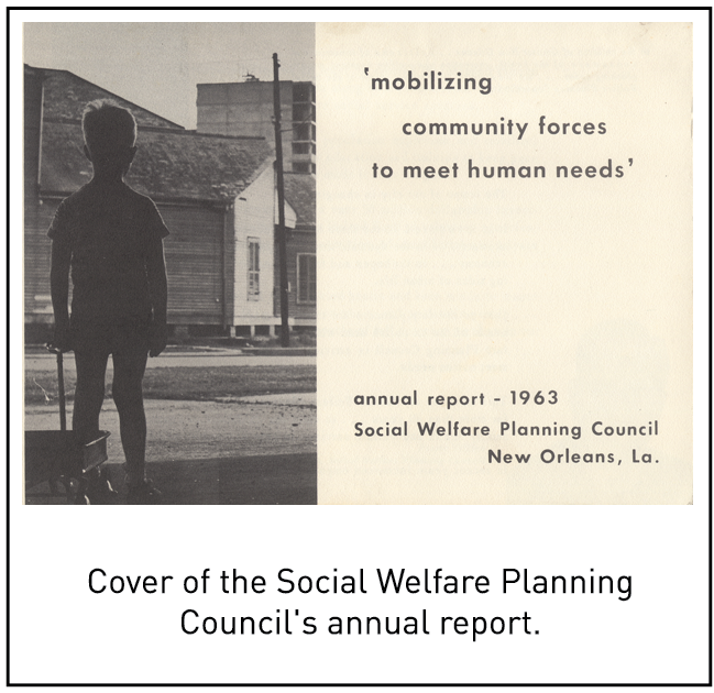 Cover of the Social Welfare Planning Council's annual report.