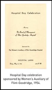 Hospital Day celebration sponsored by Women's Auxiliary of Flint-Goodridge, 1954.