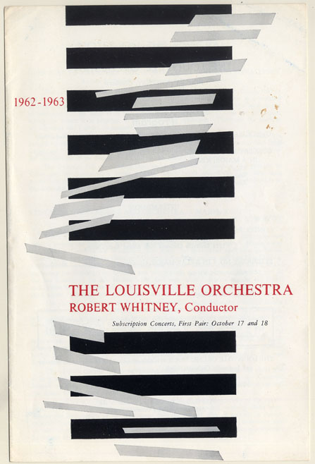 "Program for 1962 performance (the 1st) of Hale Smith's ""Contours"" by Louisville Orchestra."