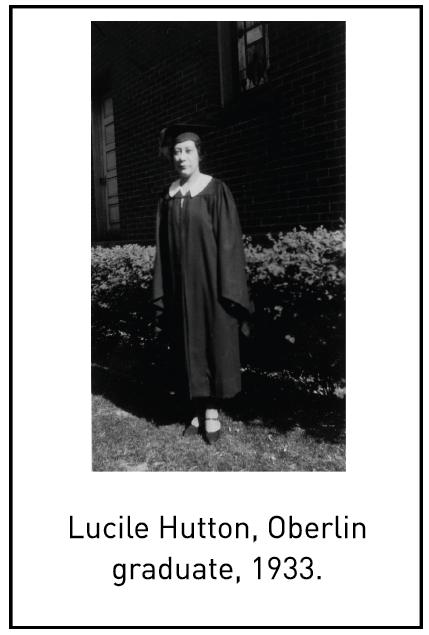 Lucile Hutton, Oberlin graduate, 1933.