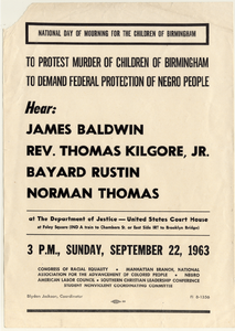 Flyer for National Day of Mourning  for the Children of Birmingham