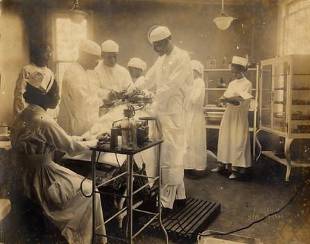 Image of an operating room from one of Amistad's exhibitions