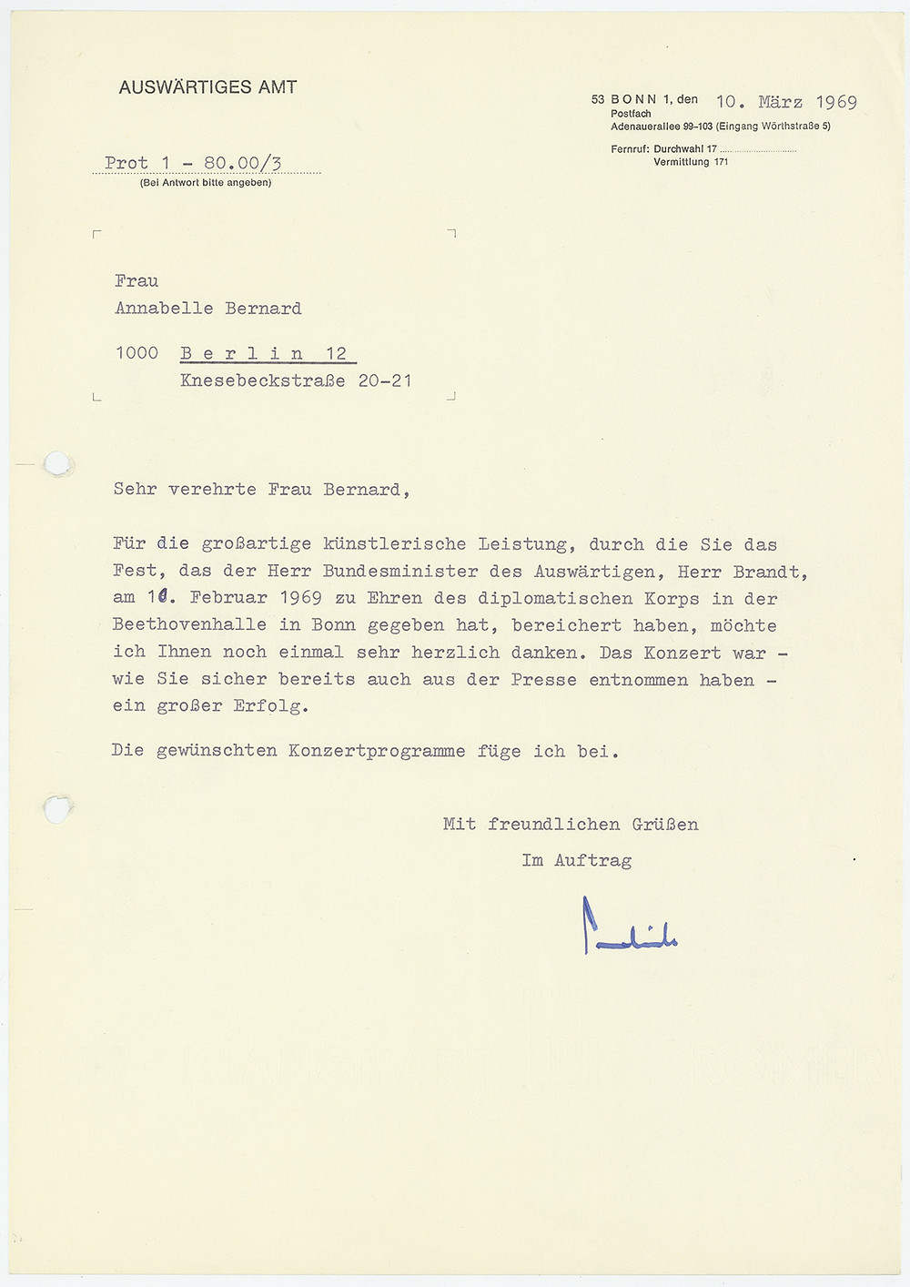 Letter of gratitude to Bernard for her performance at a party for (West) German Minister for Foreign Affairs, Mr. (Willy) Brandt, in Bonn, 1969.