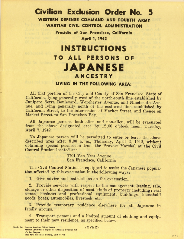 Reprint of Civilian Exclusion Order No. 5