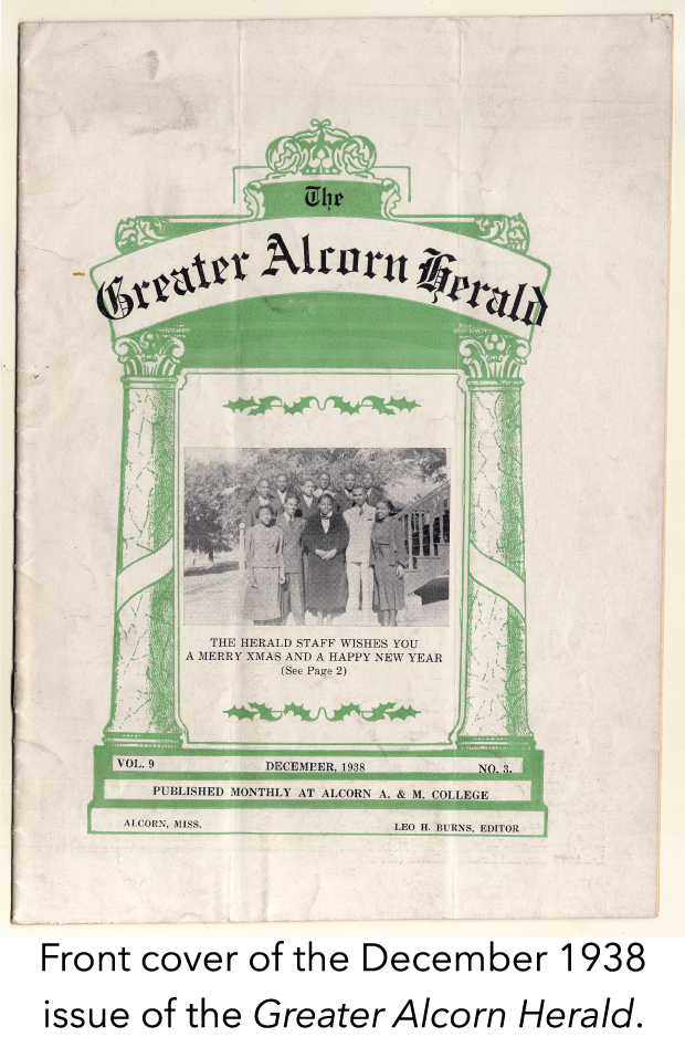 Front cover of the December 1938 issue of the Greater Alcorn Herald.