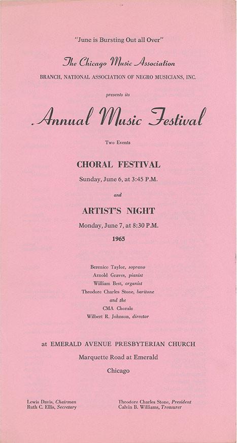 Program: Annual Music Festival, June 7, 1965