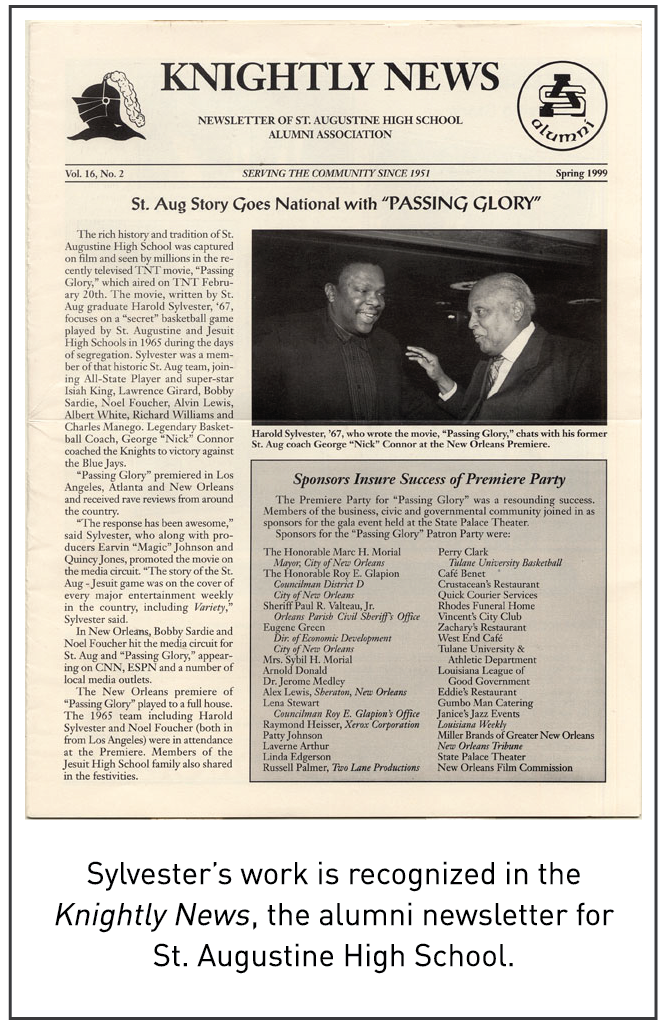 Sylvester's work is recognized in the Knightly News, the alumni newsletter for St. Augustine High School.