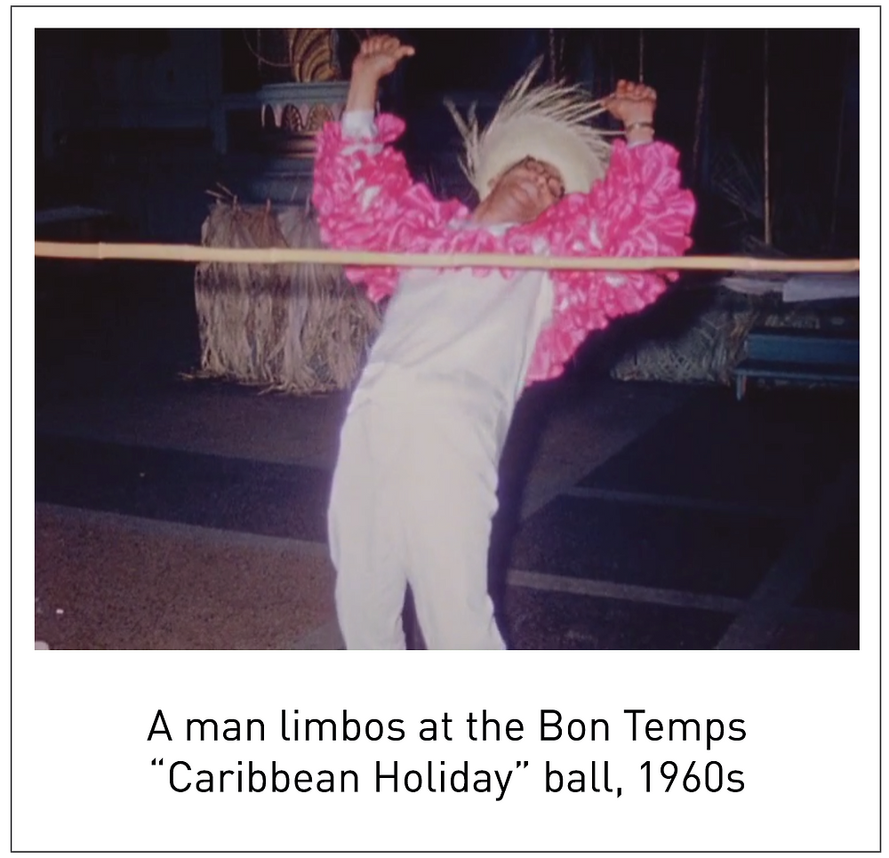 "A man limbos at the Bon Temps ""Caribbean Holiday"" ball, 1960s"