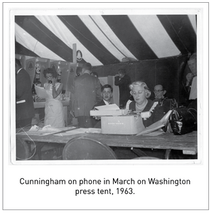 Cunningham on phone in March on Washington press tent, 1963.