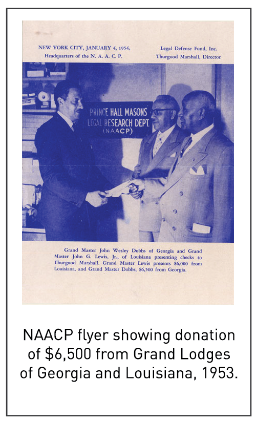 NAACP flyer showing donation of $6,500 from Grand Lodges of Georgia and Louisiana, 1953.