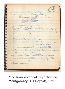 Page from notebook reporting on Montgomery Bus Boycott, 1956.