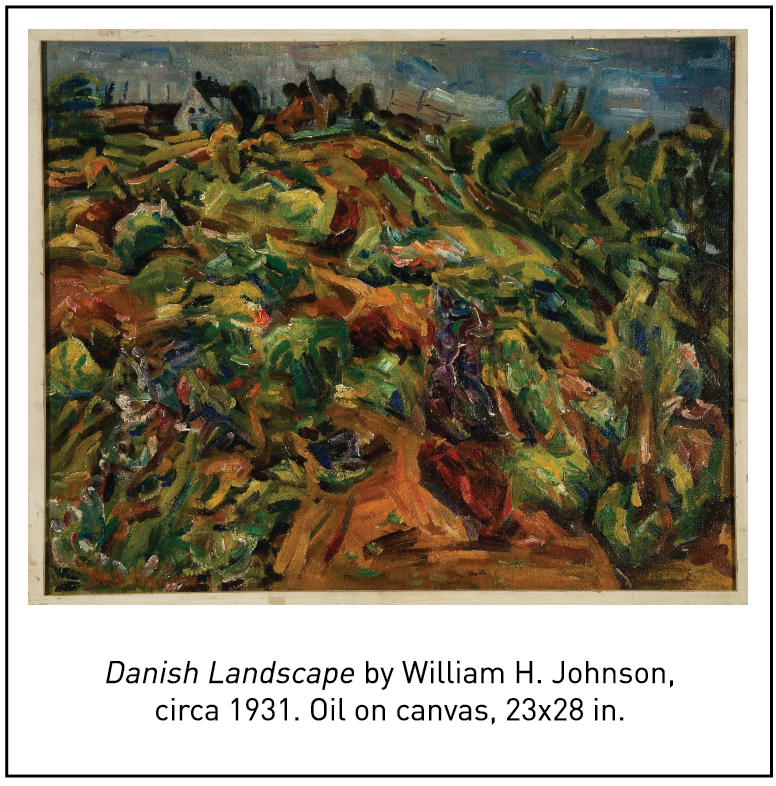 Danish Landscape by William H. Johnson, circa 1931. Oil on canvas, 23x28 in.