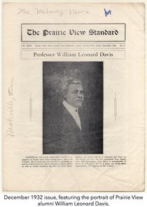 December 1932 issue, featuring the portrait of Prairie View alumni William Leonard Davis.