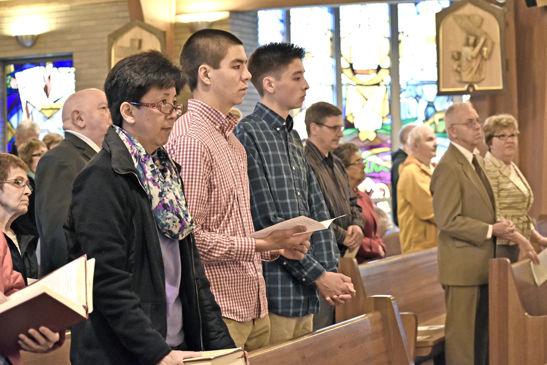 Congregants pray