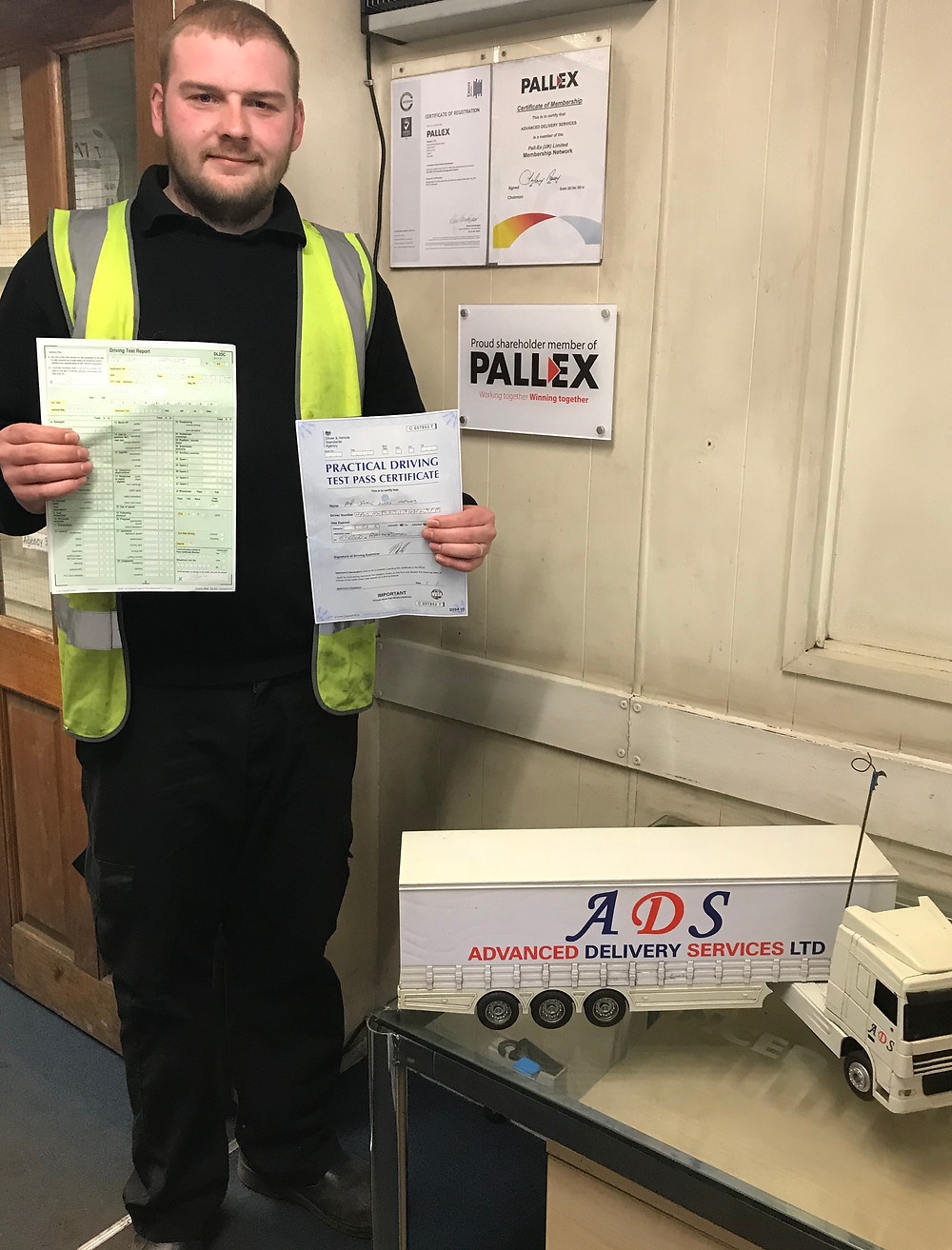ADS driver Jamie Haynes with his test certificate