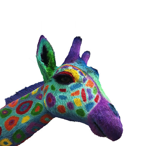 Tropical colored giraffe head