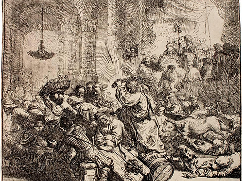 Christ driving the money changers from temple