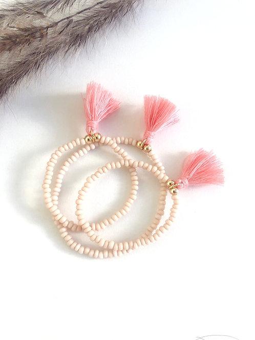 Bali Pink Tassel Bracelet