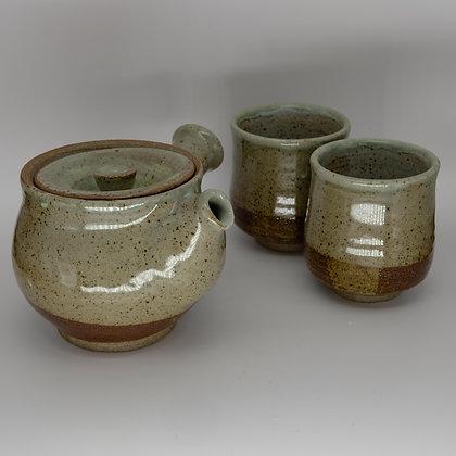 Speckled white teapot set
