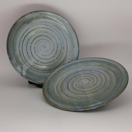 Blue-green biscuit plates (pair)