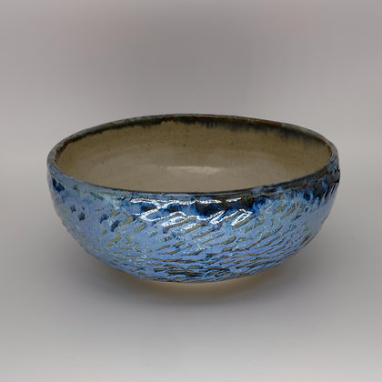 Textured blue bowl