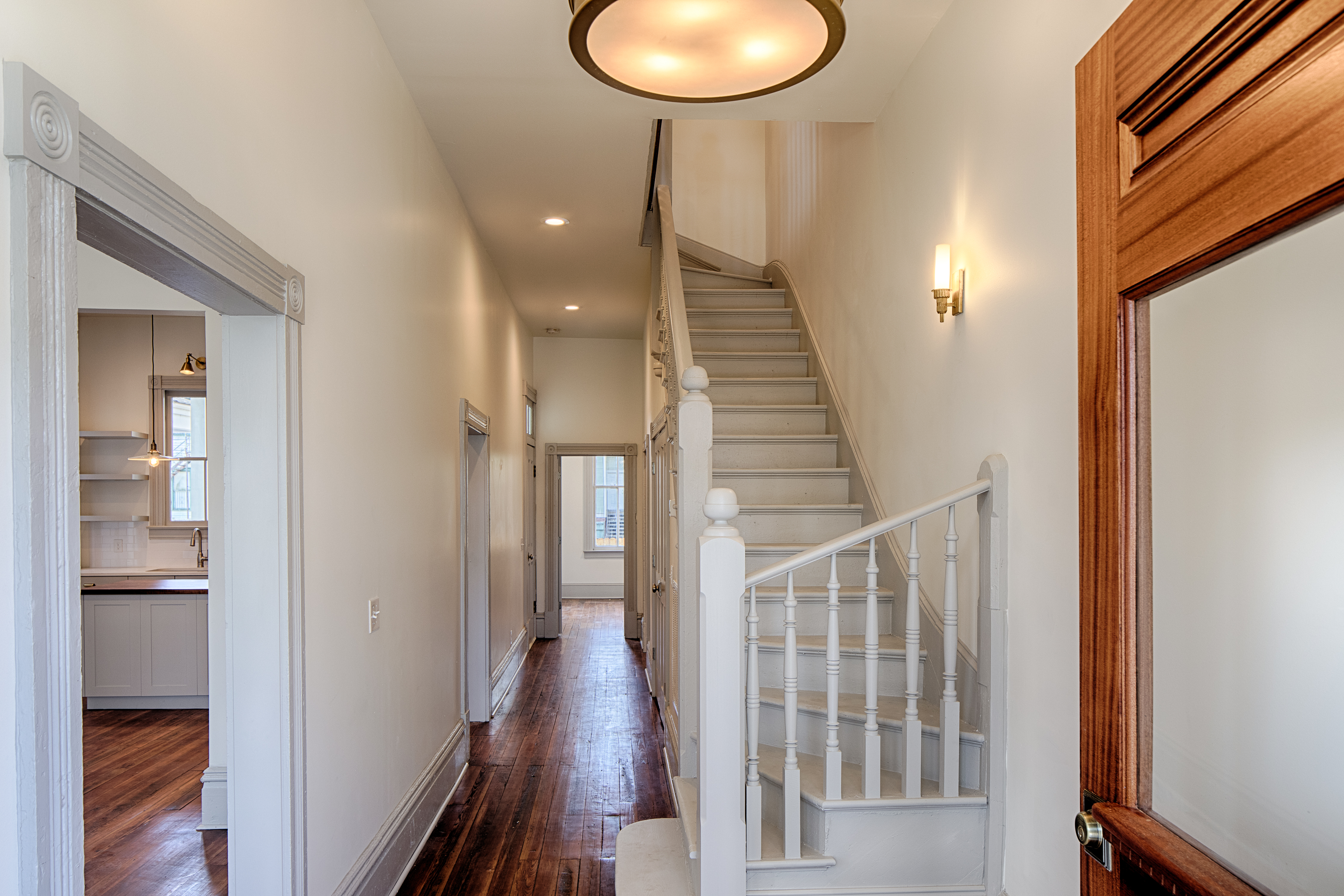 after stairs/hall