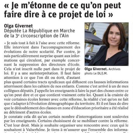 Le Dauphiné libéré : ITW - Pour une école de la confiance