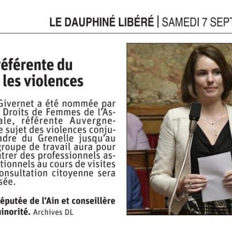Le Dauphiné libéré : la députée Olga Givernet référente du Grenelle sur les violences
